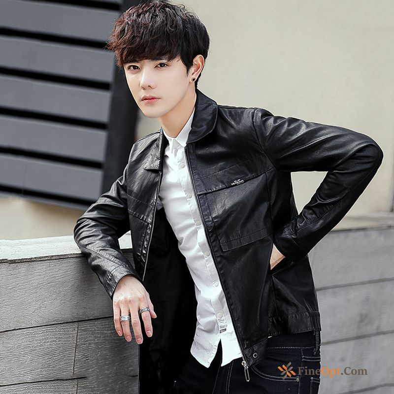 Cheap Autumn Coat Men's Handsome Black Trend Jacket Leather Jacket