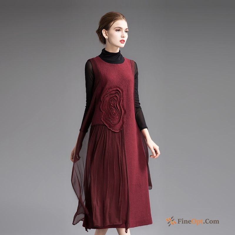 Cheap Autumn Embroidered Thin Vest Winter Splicing Woolen Dress