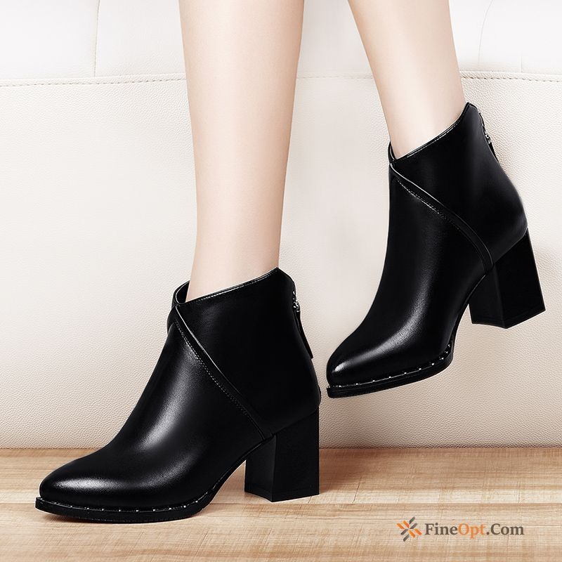Cheap Autumn Thick High Heels Martin Boots New British Boots Leather Shoes