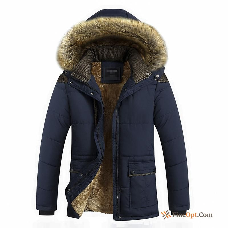 Cheap Big Fur Collar Long Splicing Thickening Winter Autumn Coat Seagreen Cotton Jacket
