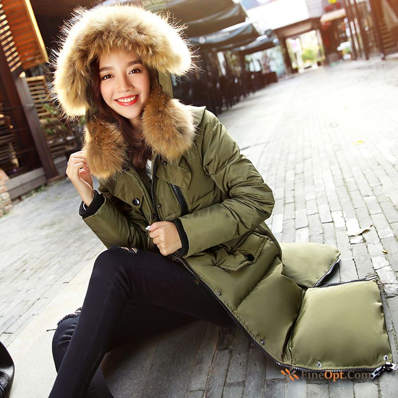 Cheap Big Fur Collar Slim Winter Hooded Military Green Down Jacket Long Pure White