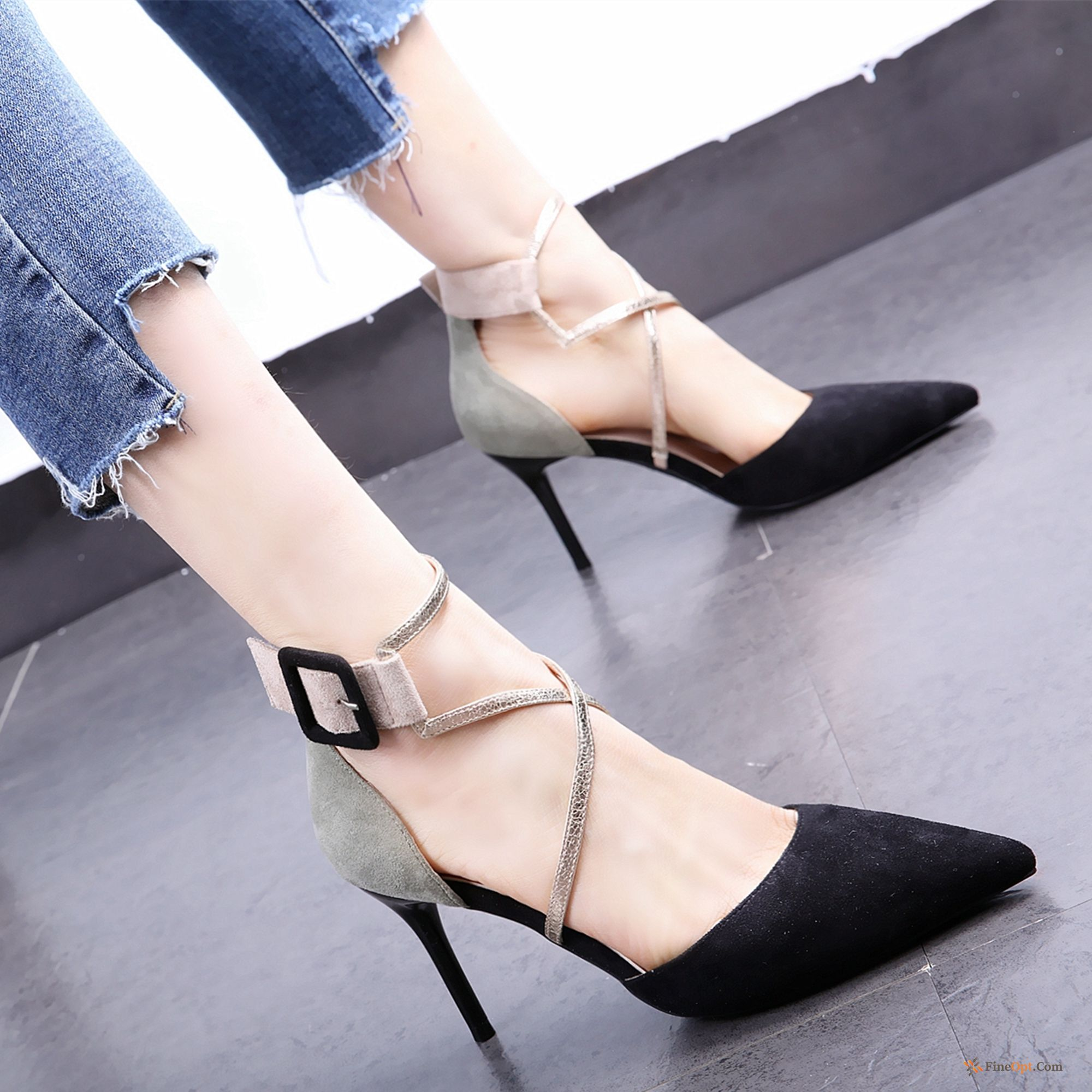 Cheap Black Mixed Colors Girl High Heels Pumps Spring Thin Heels