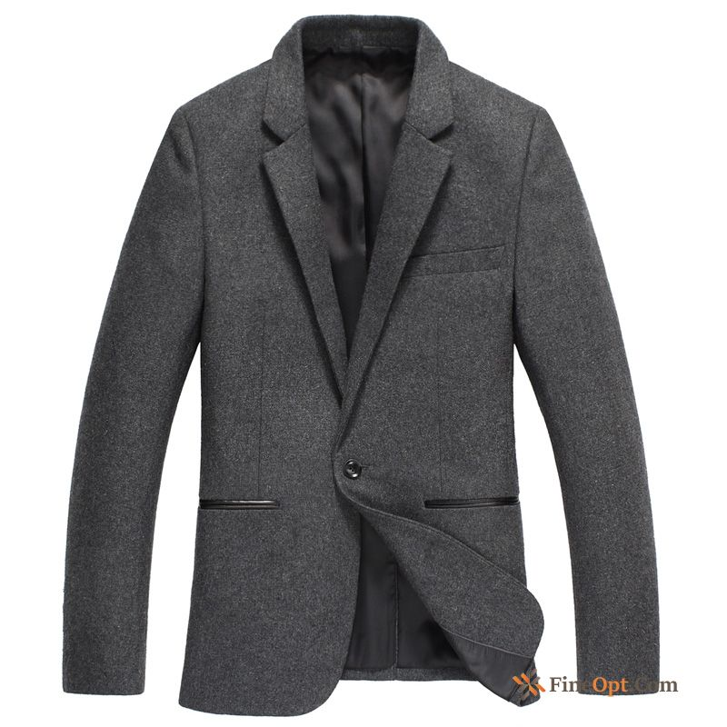 Cheap Blazer Coat Wollen Fabric Autumn Slim Leisure Spring Carbon Black