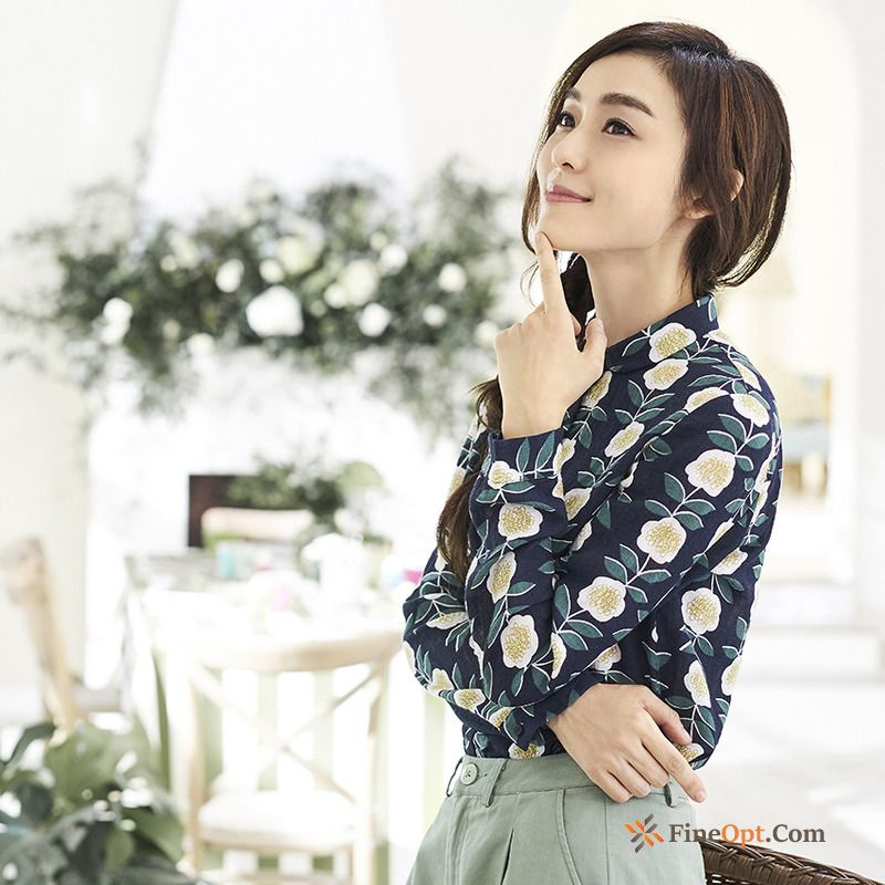 Cheap Blouse Retro Flower Spring Long Sleeves Printing All-match Blouse