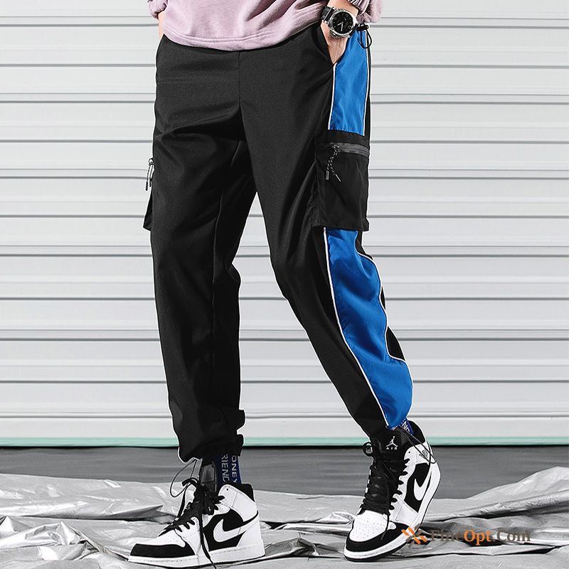 Cheap Blue Cargo Loose Europe Trend Men's Sweatpants Cargo Pants