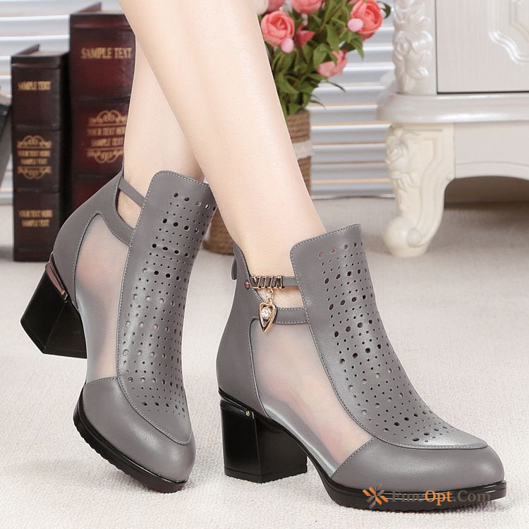 Cheap Boots Trend Genuine Leather Short Boots Net Yarn Hollow New