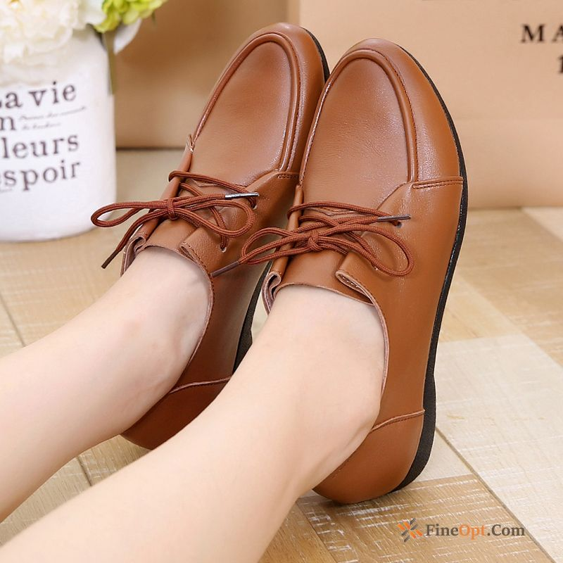 Cheap Casual All-match Genuine Leather Big Size Flat Spring Autumn Leather Shoes