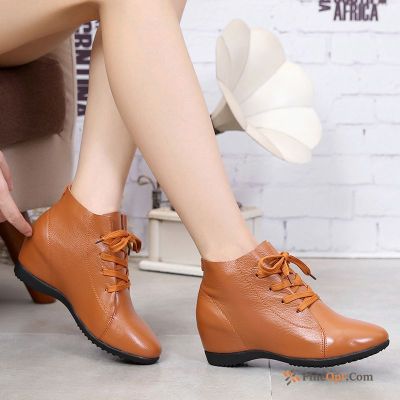 Cheap Casual Flat Winter Increased Big Size Short Boots Mid Heel Earth Yellow Leather Shoes