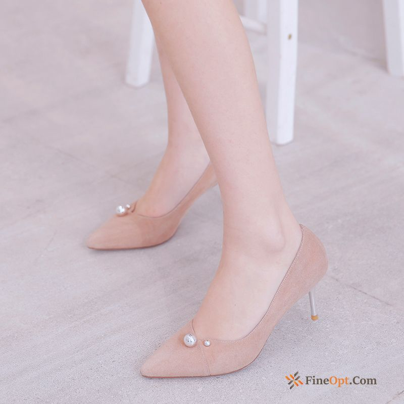 Cheap Casual Pumps Thin Heels Fashion Work Shoes Genuine Leather New Gold