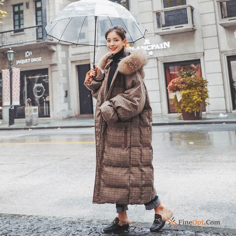 Cheap Checks Winter Clothes Cotton-padded Europe Thickening Long Cotton Cotton Coat