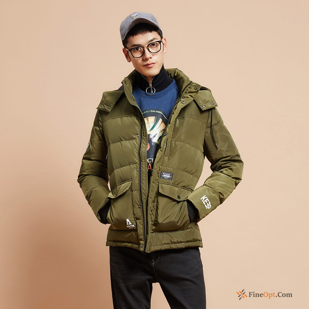 Cheap Coat Letter Removable Cap Student Flower Printing Down Jacket