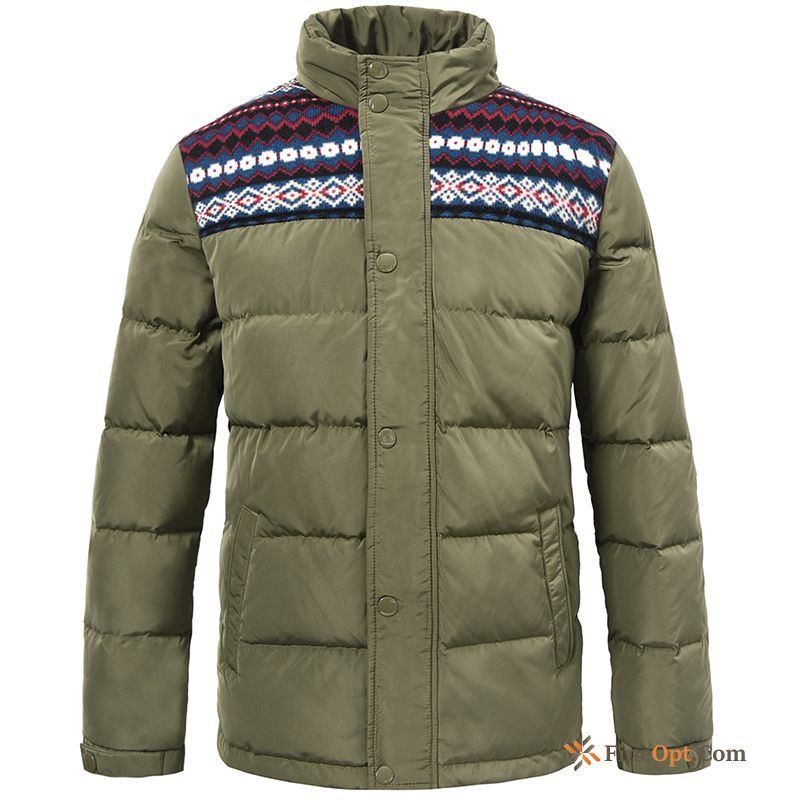 Cheap Europe Warm Splicing Men's Coat National Style Short Down Jacket