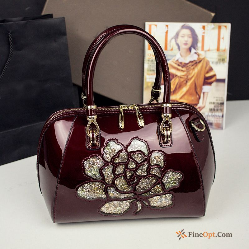 Cheap Fashion New Middle Aged Women Pillow Patent Leather Bags Handbag