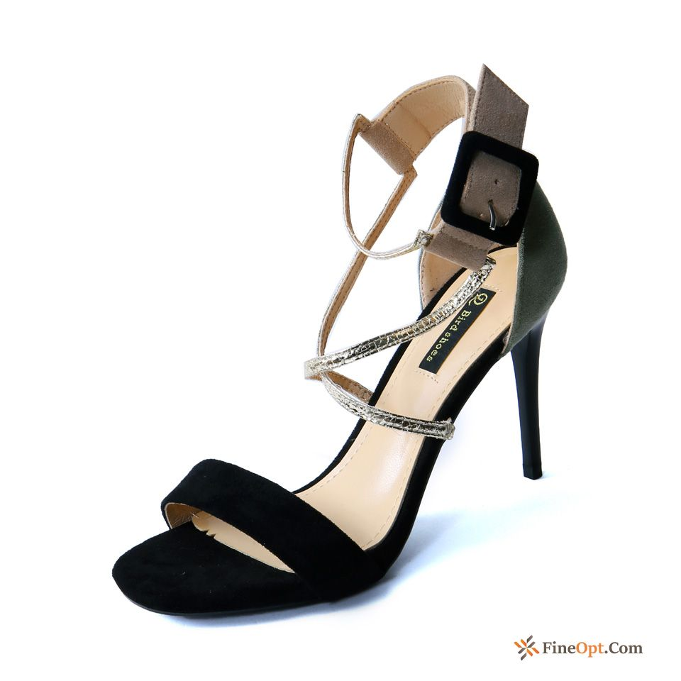 Cheap Fashion Open Toe Sandals Thin Heels Summer Mixed Colors New All Black Sandals