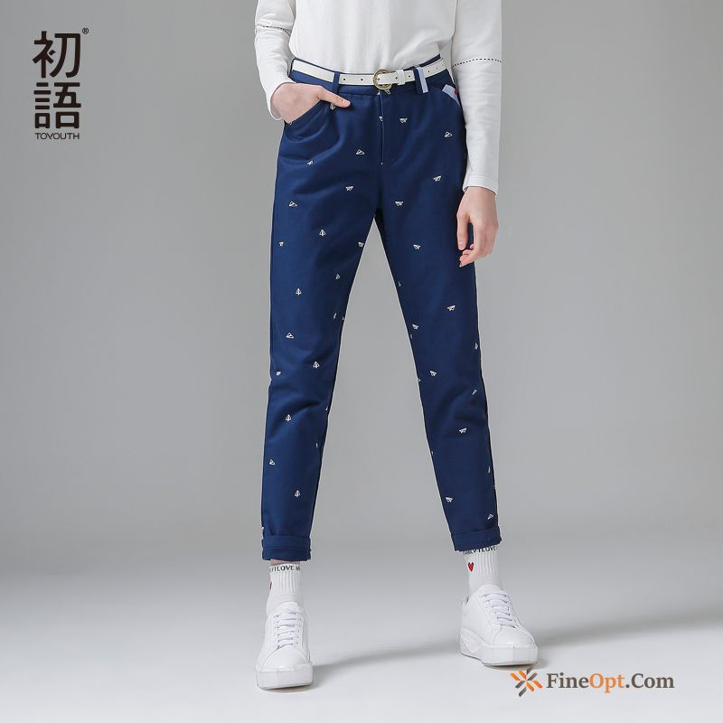 Cheap Flower Pure Printing Leisure Trousers Pants Loose Pants
