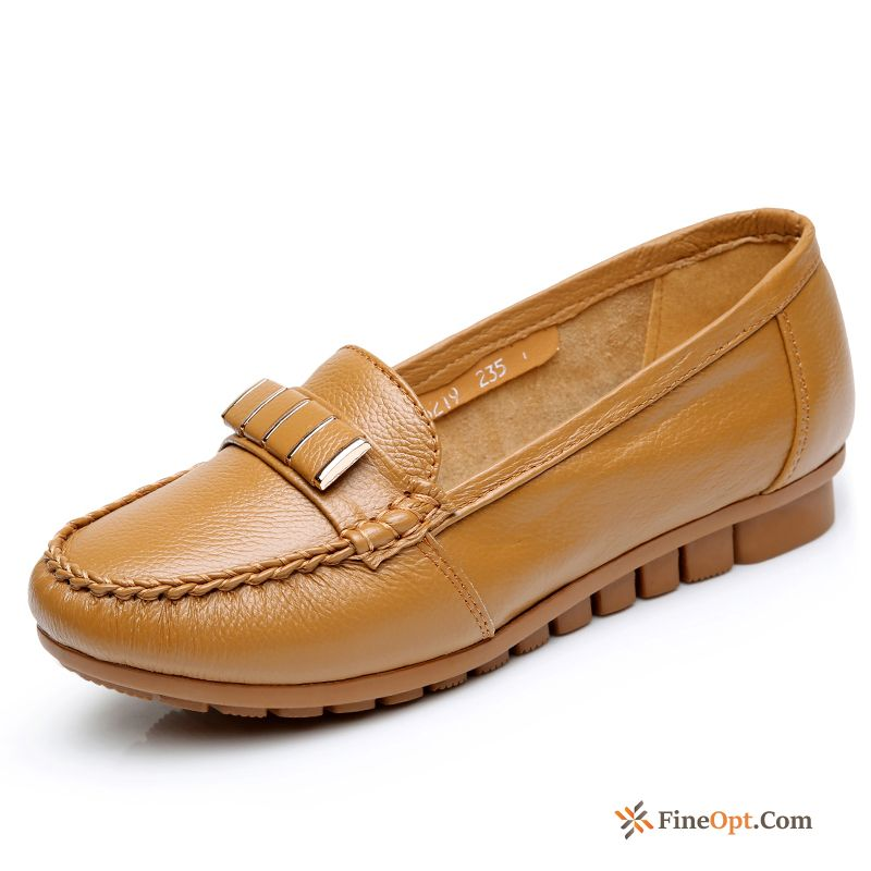 Cheap Genuine Leather Low Spring Comfortable Pumps New Flat Maize Loafers