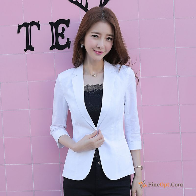 Cheap Lady Spring Coat White Slim Autumn Leisure Blazer