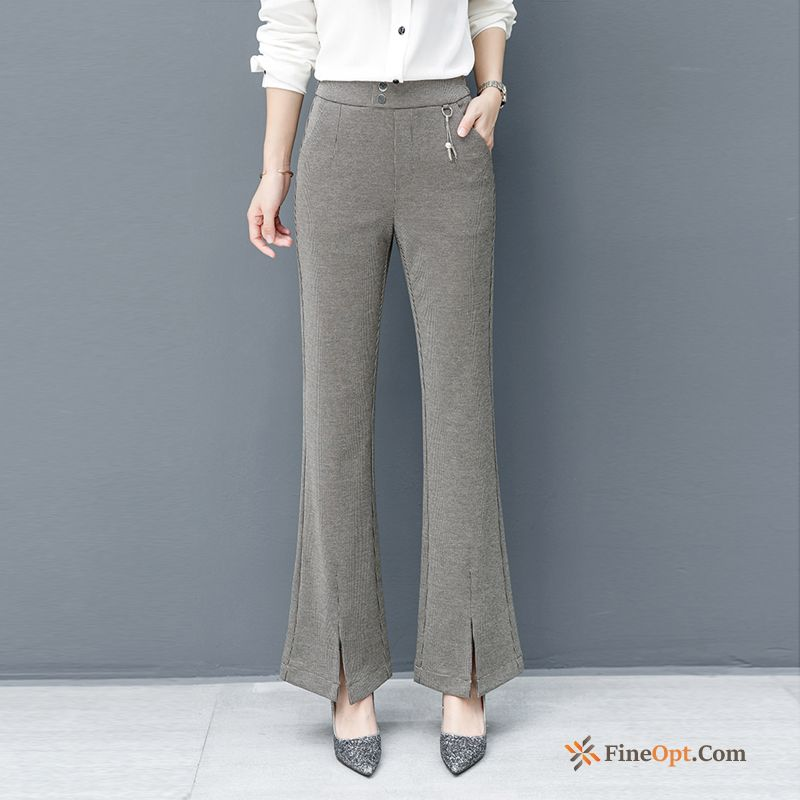 Cheap Leisure Khaki Bell-bottoms Europe New Spring Trousers Grey Violet Pants
