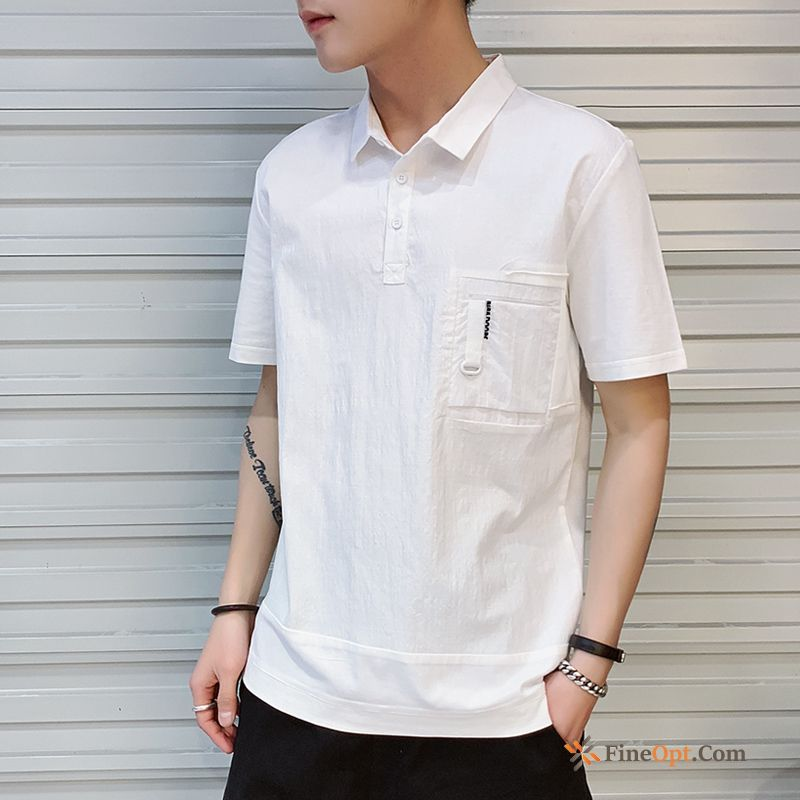 Cheap Leisure Pure Men's Sleeve Summer Loose White T-shirts