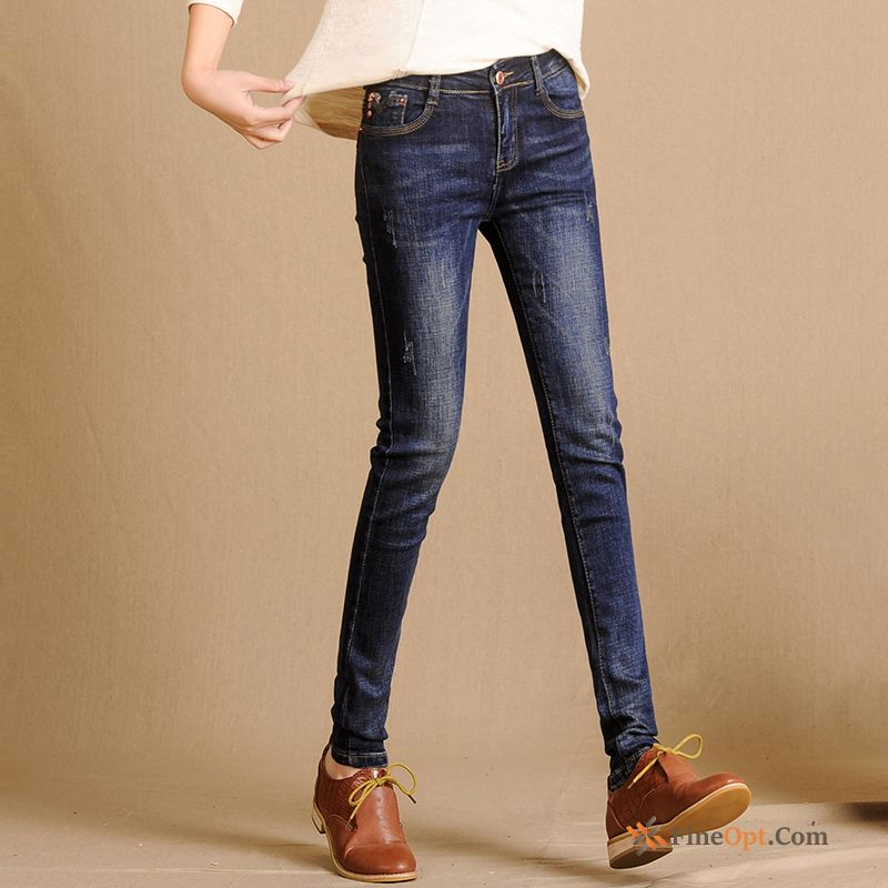 Cheap Leisure Spring Pencil Pants Retro New Elasticity Middle Waisted Jeans