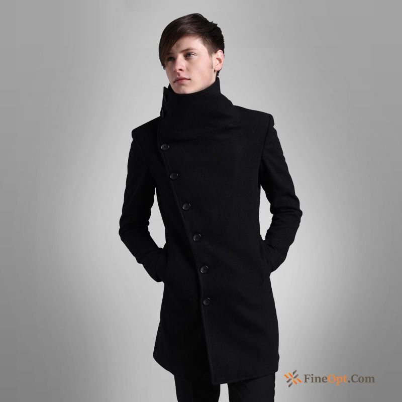 Cheap Long Section Overcoat Woolen Wollen Fabric Men's Slim Winter Coat