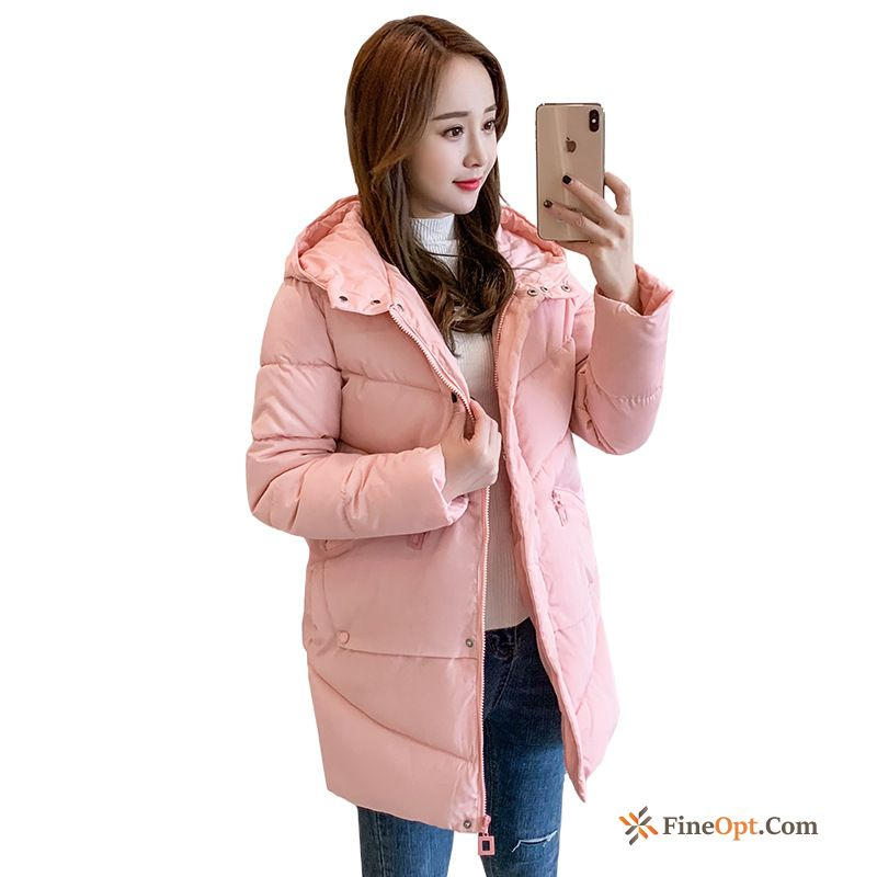 Cheap Long Thickening Cotton-padded New Pink Student Coat Smoky Gray Cotton Coat
