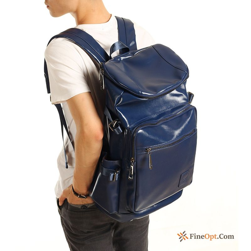 Cheap Men Trend Student Pu College Travel Leather Backpack
