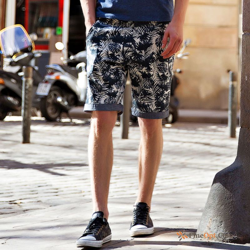Cheap Men's Flower Shorts Pants Trend Beach Summer Rubine