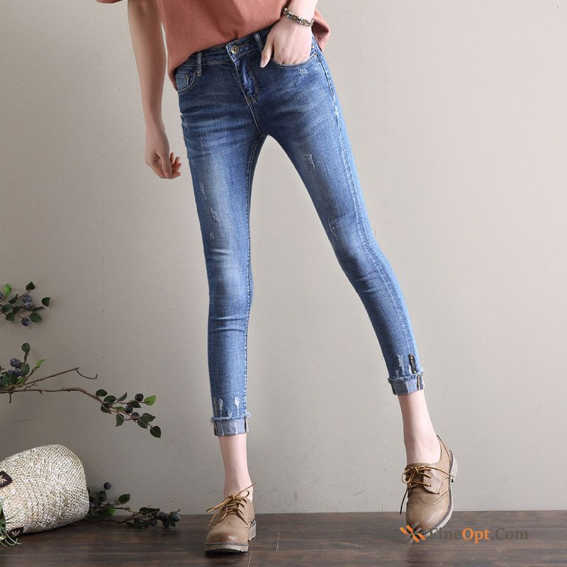 Cheap New Edge Ninth Pants High Waist Jeans Skinny Spring