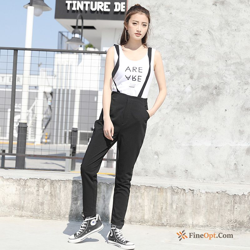 Cheap New Strap Trend Black Leisure All-match Spring Darkgray Pants