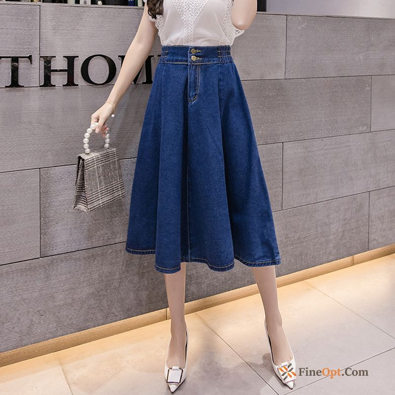 Cheap New Thin Short Skirt Summer Spring Navy Blue Elastic Skirts