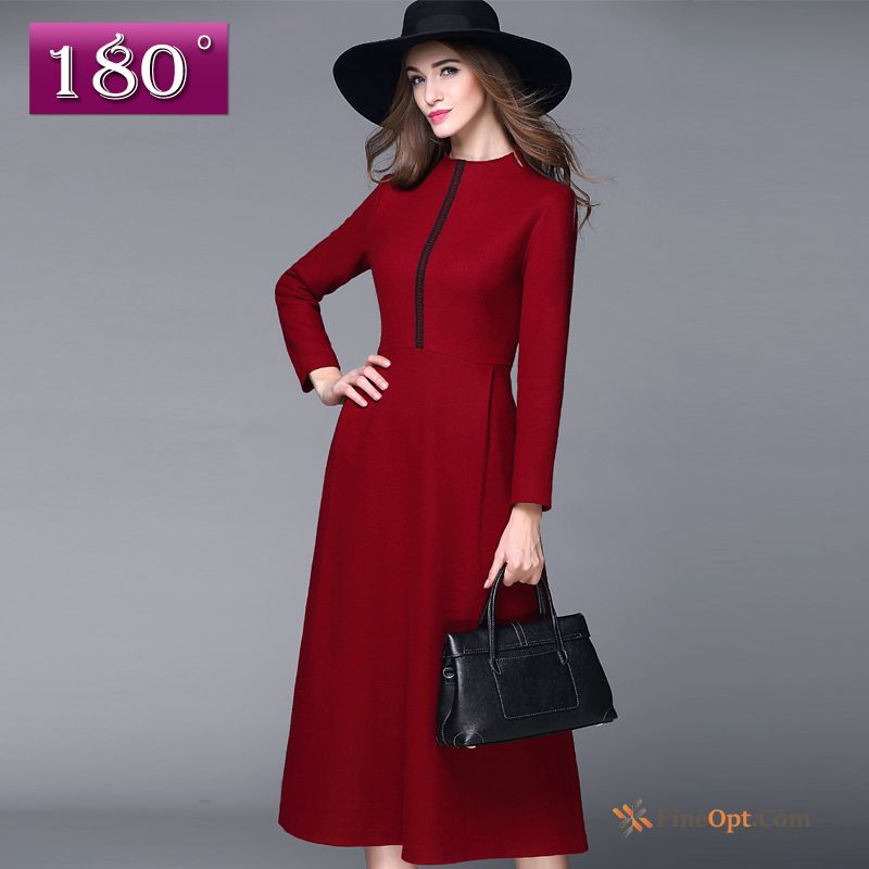 Cheap New Woolen Leggings Autumn Winter A Letter Long Purplish Red Dress
