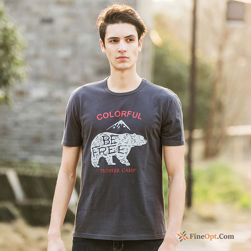 Cheap Pure Loose Printing Men's Animal T-shirt Summer T-shirts