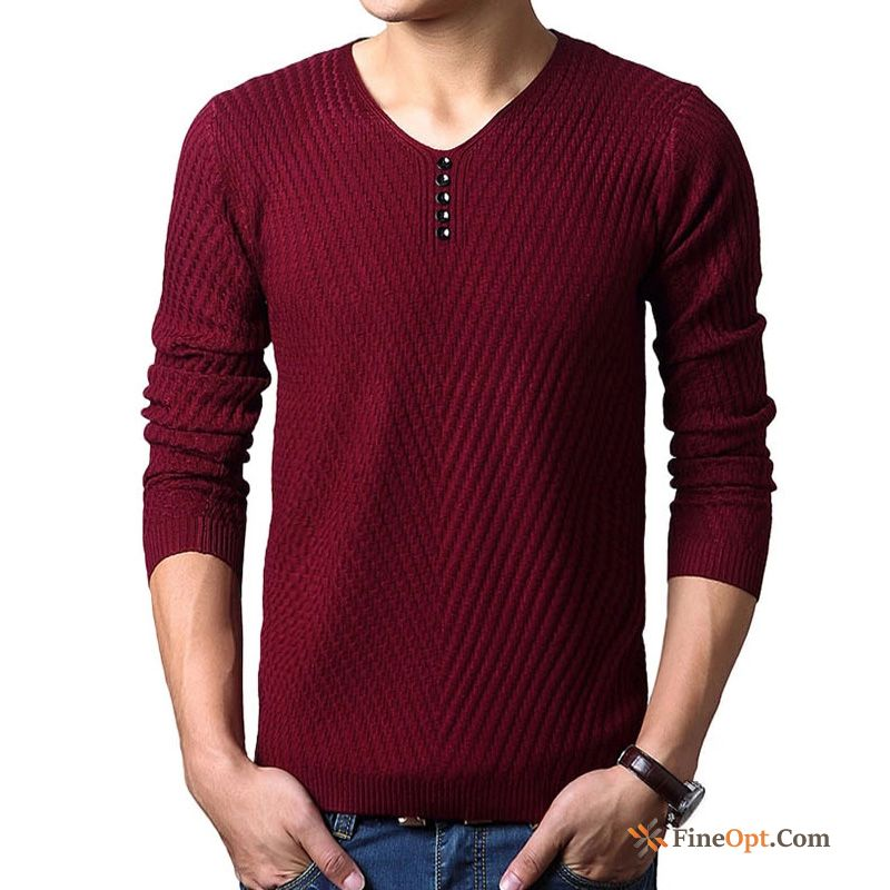 Cheap Pure Spring Long Sleeves V-neck Men's Slim Knitting Olive Green Sweater