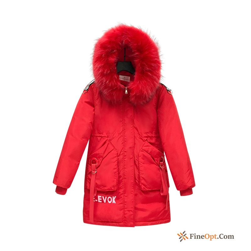 Cheap Red New Long Cotton Winter Cotton-padded Big Fur Collar Oyster White Cotton Coat