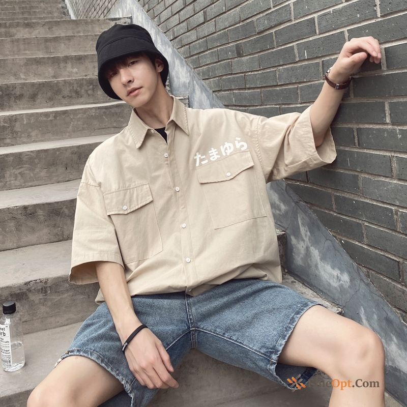 Cheap Retro Trend Sleeve White Shirt Summer Cargo Shirts