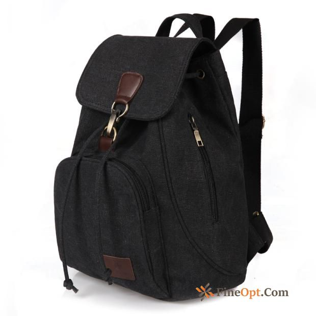 Cheap School Bag Black Men's Canvas Backpack Women Simple Salmon Backpack