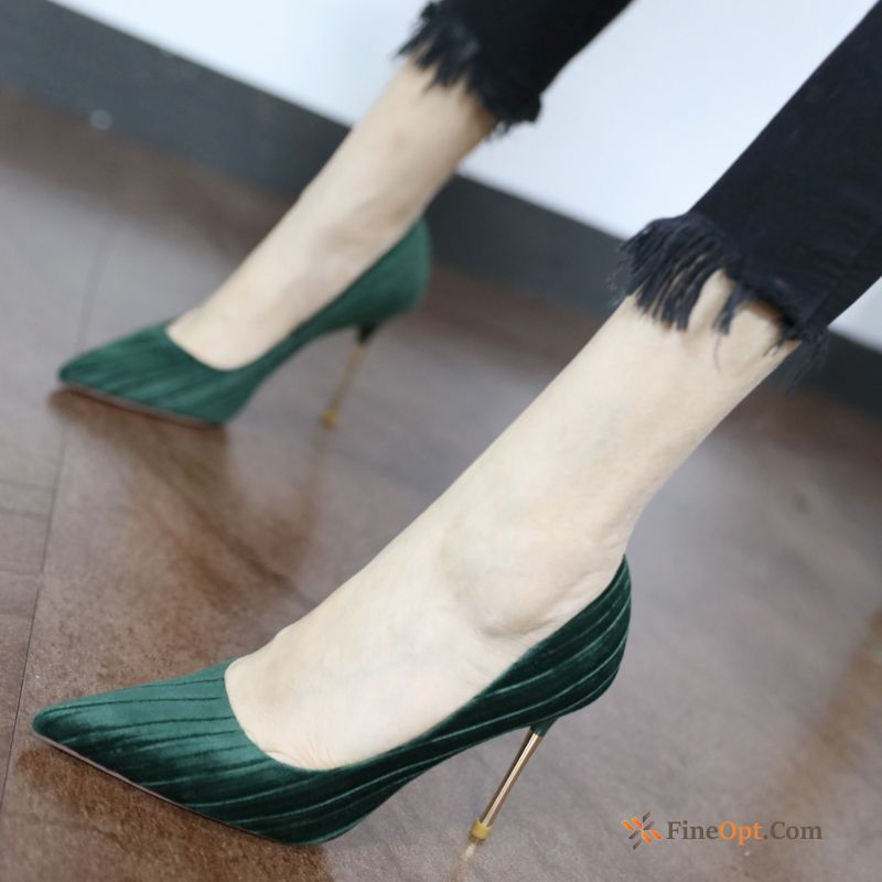 Cheap Shallow Mouth Shoes Green Elegant Suede Retro High Heels Spring Pumps
