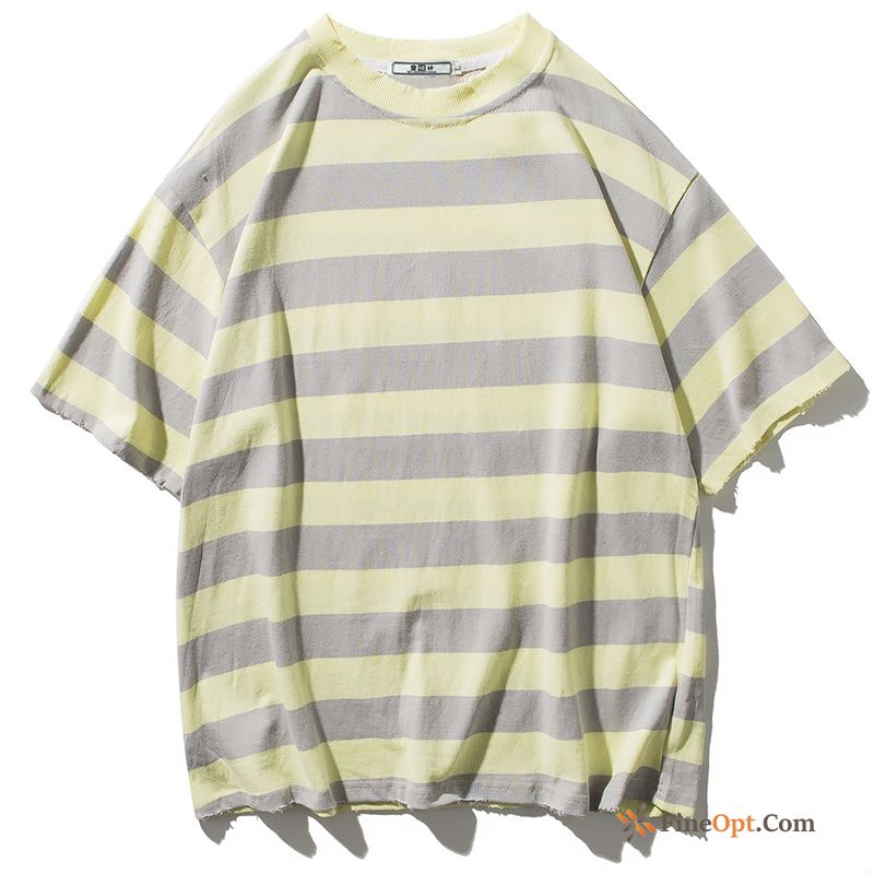 Cheap Shorts Trend Half Sleeve Round Neck Summer Gray Stripes T-shirts