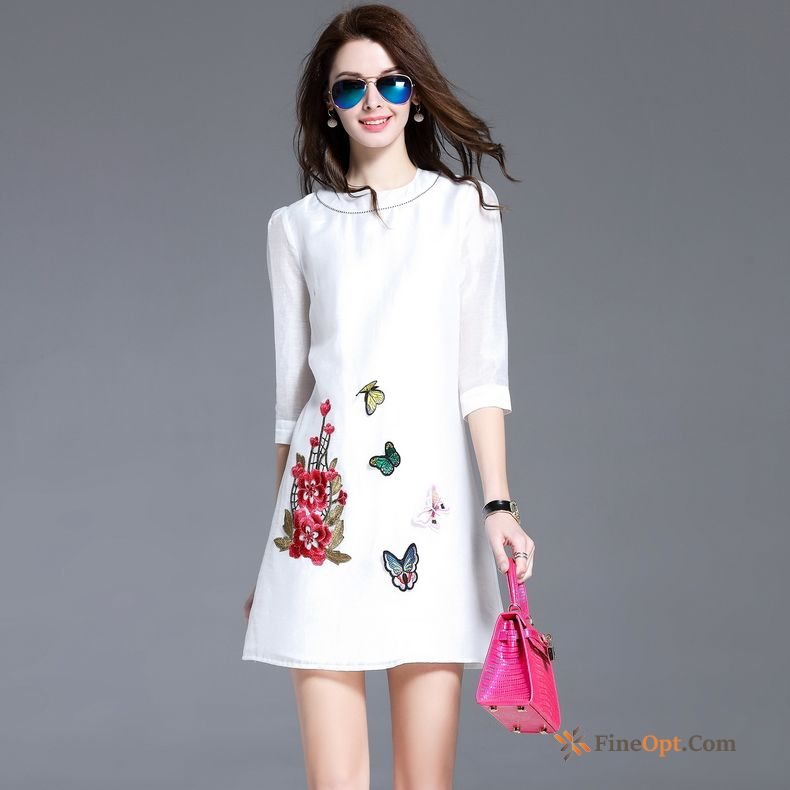 Cheap Silk Spring Temperament Embroidery White Summer Trend Dress