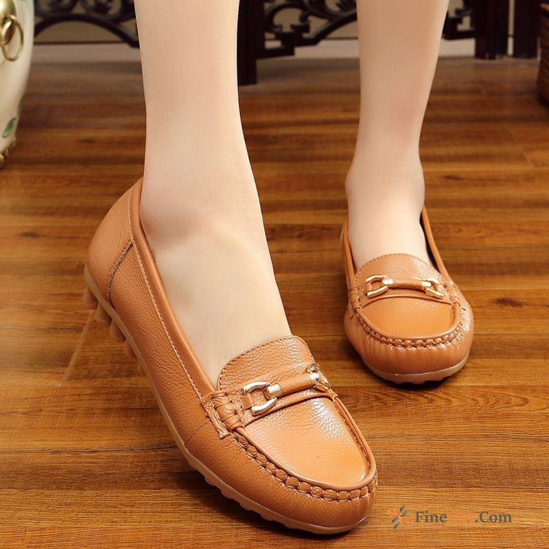 Cheap Soft Sole Autumn Genuine Leather Flat Pumps Leather Shoes Flat