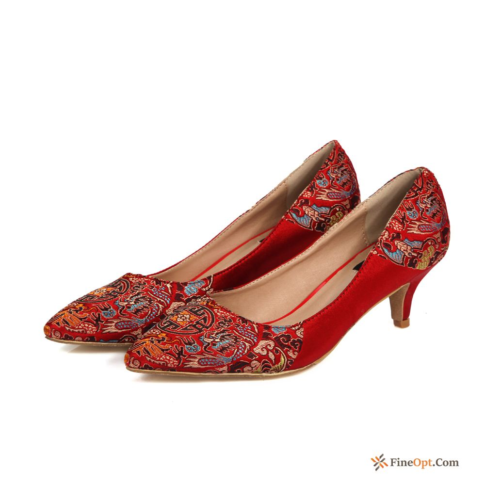 Cheap Spring Thin Heels Wedding Shoes High Heels Red Big Size Pumps
