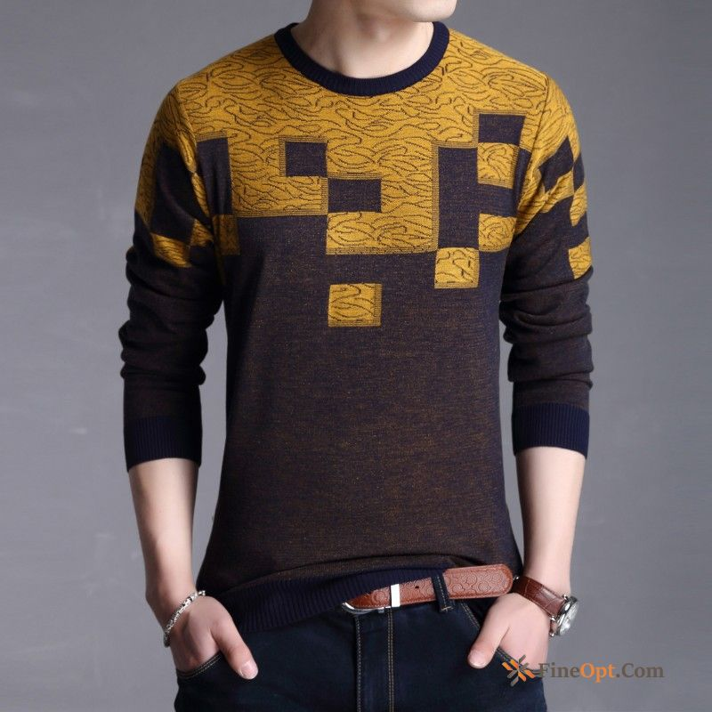 Cheap Spring Youth Europe Pullovers Men's Contrast Color Sweater