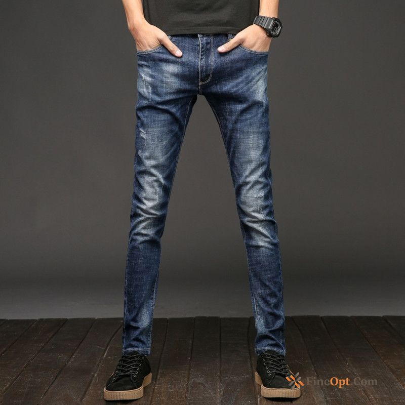 Cheap Straight Youth Trousers Slim Trend Men's Spring Jeans