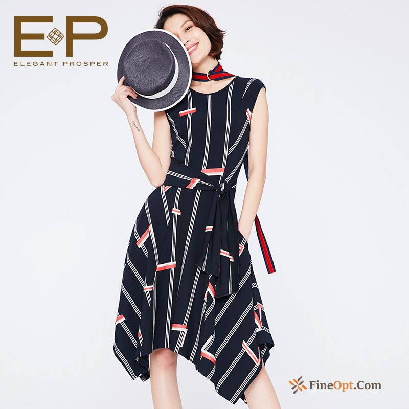 Cheap Stripes Elegant Flower Printing Spring New Dress