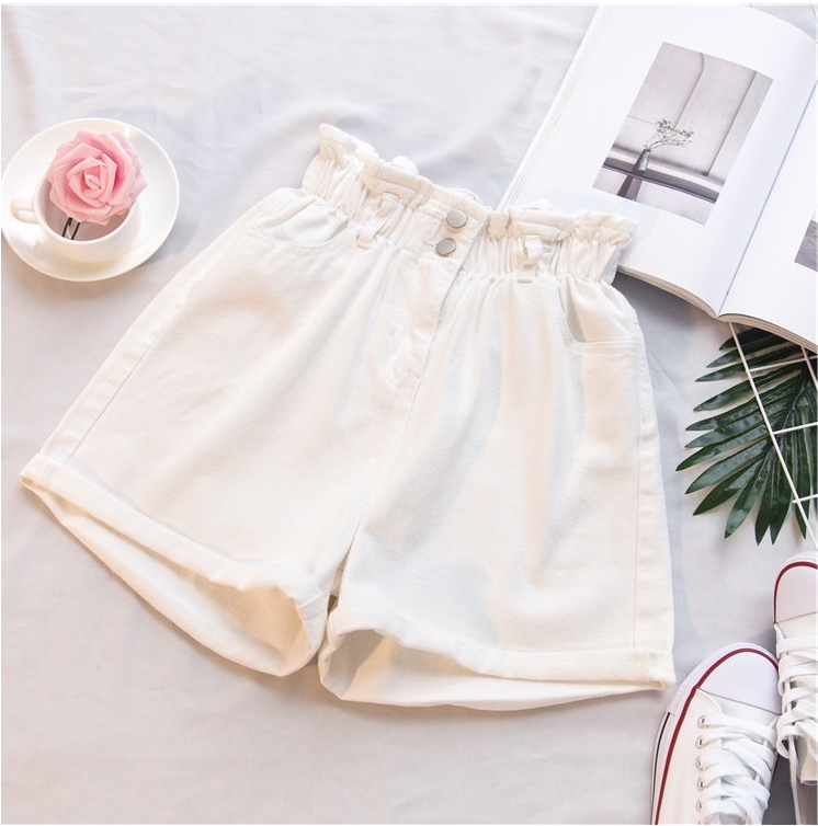 Cheap Summer A Letter Thin High Waist Loose Fat White Rose Shorts