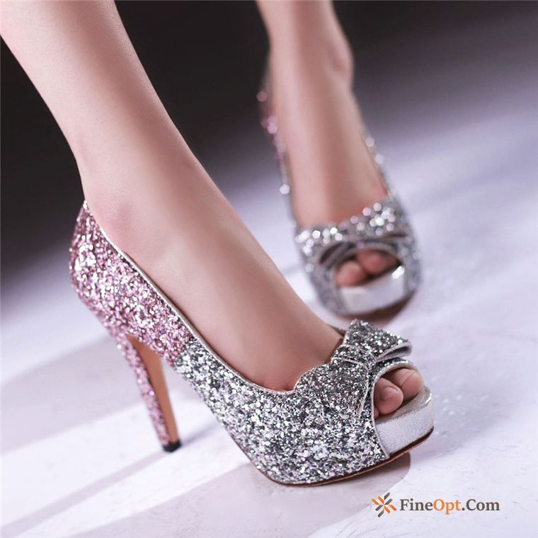Cheap Summer Princess High Heels Sexy Ultra Sequins Peep-toe Maize Pumps