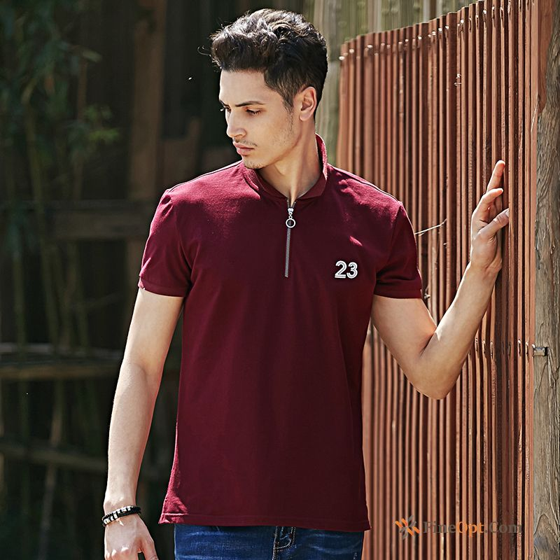 Cheap T-shirt Men's Slim Sleeve Lapel Youth Red T-shirts