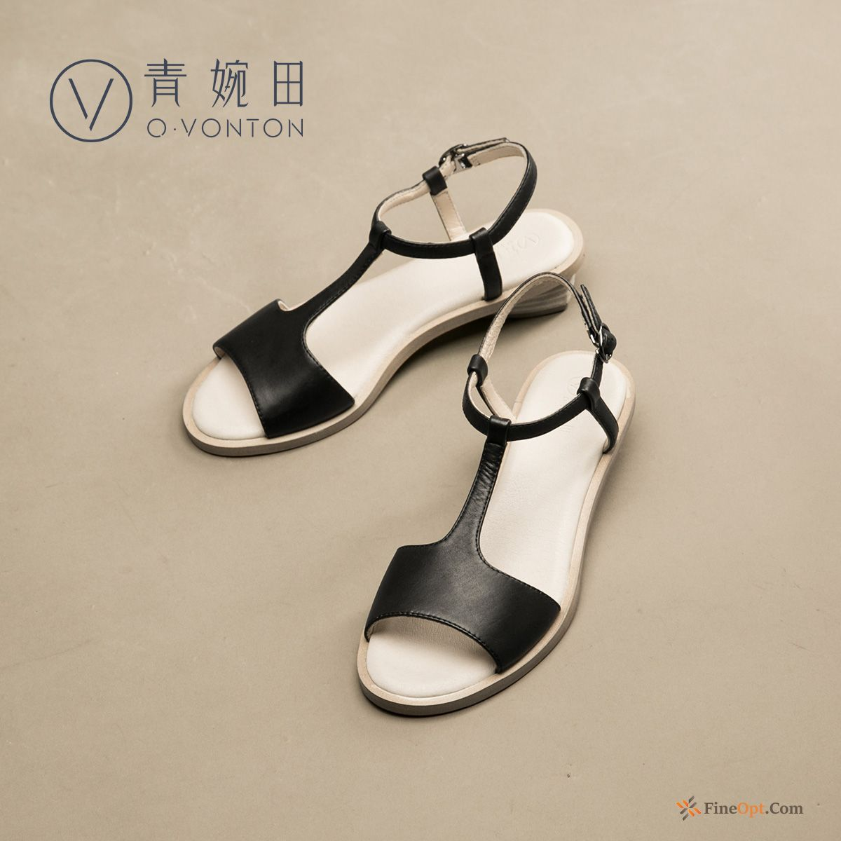 Cheap Thick Student Sandals Casual Open Toe Retro Mid Heel Sandals