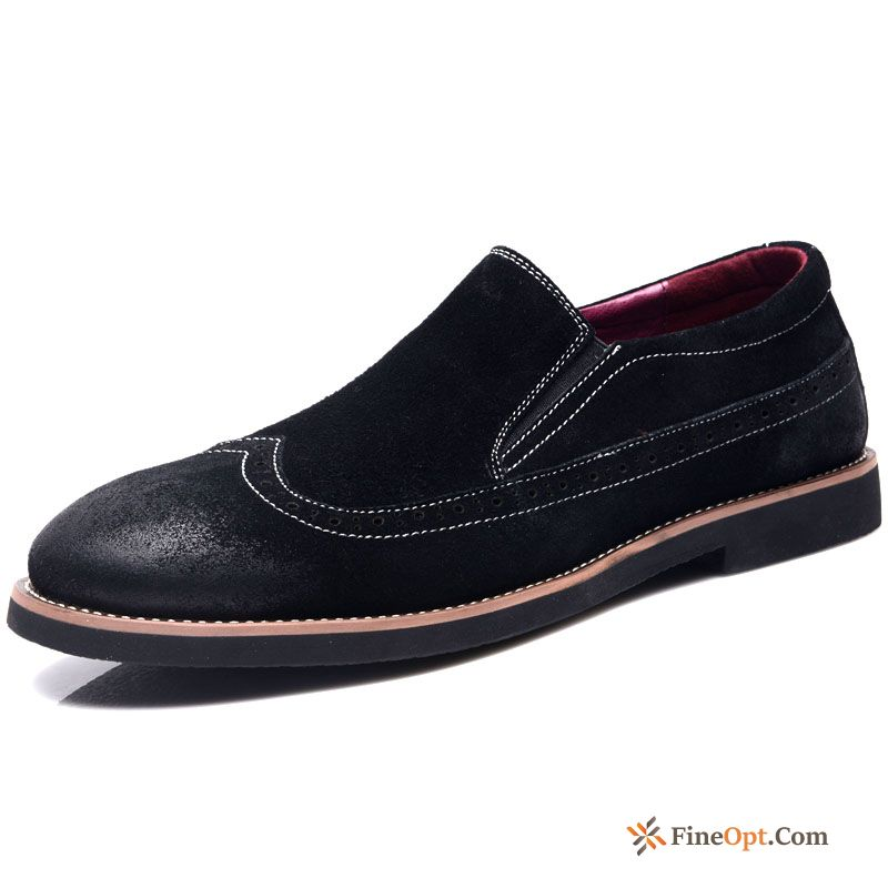 Cheap Trend British Genuine Leather Black Men's Causal Shoes Personality Loafers